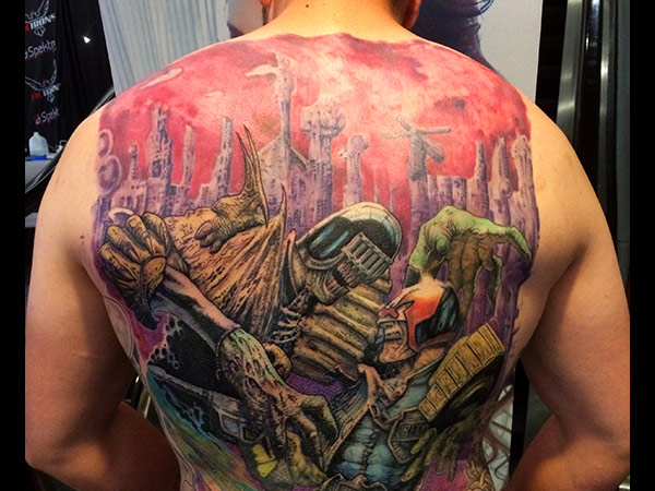 Latest session on Judge Dredd backpiece