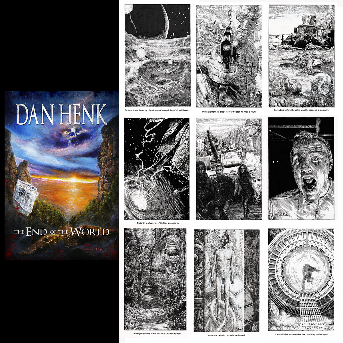 The cover and all 9 of the interior illustrations for my new novel
